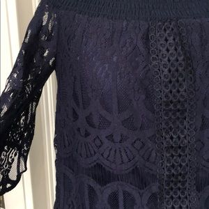Francesca's Collections Tops - BRAND NEW WITH TAGS Navy Lace Top